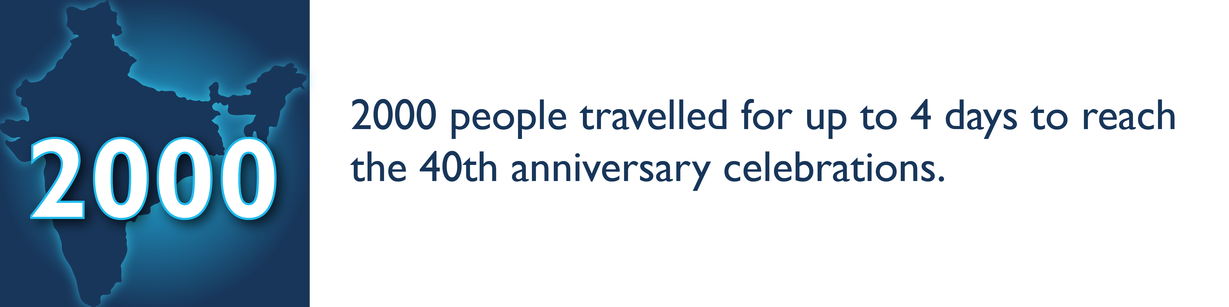 2000 people travelled for up to 4 days to reach the 40th anniversary celebrations.