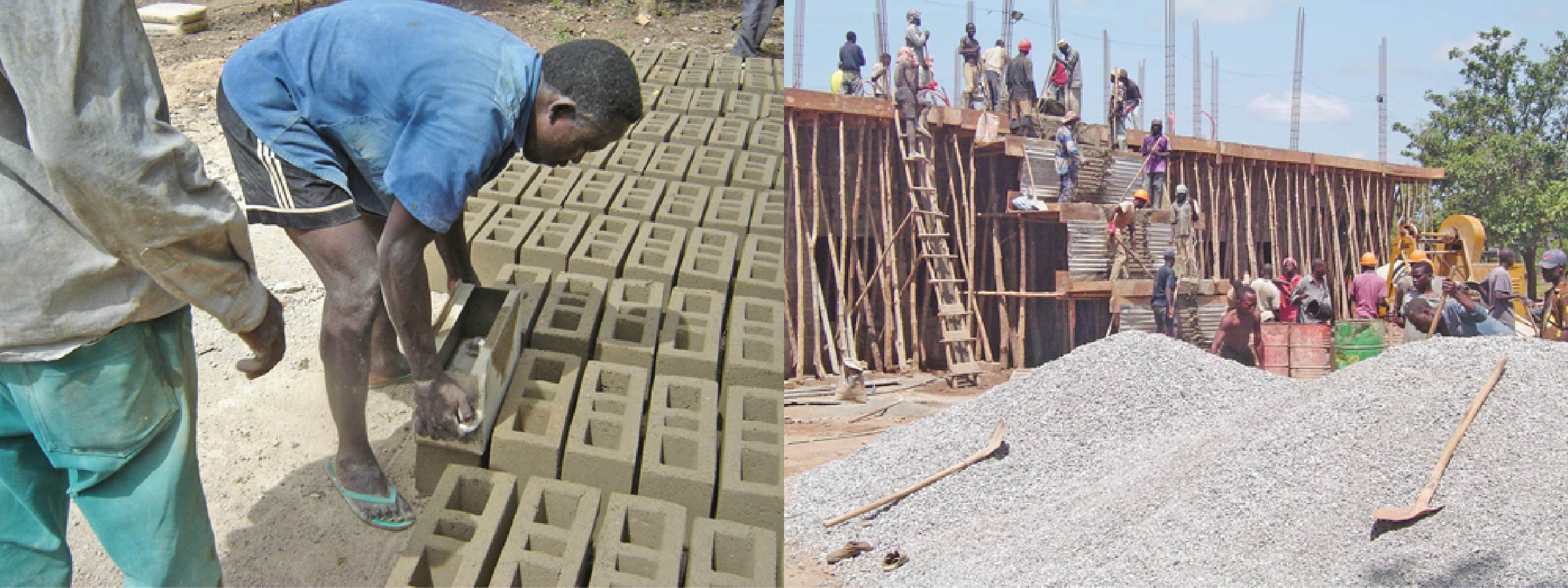 Workers make the bricks and build the building for TWR West Africa ten years ago.