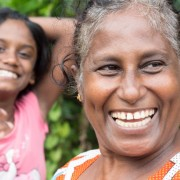 Two smiling ladies in rural Sri Lanka