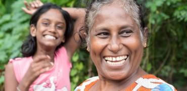 Two smiling ladies in rural Sri Lanka