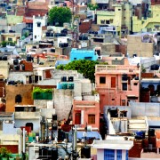 Old Delhi: a jumble of tightly packed colourful houses.