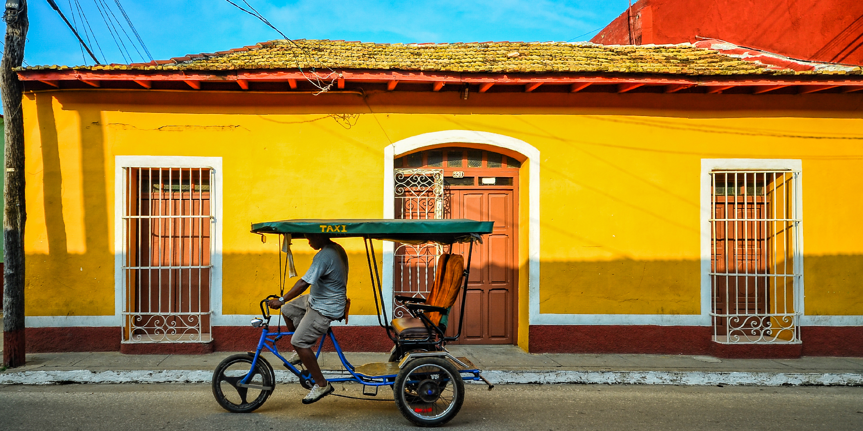 A pedal-powered taxi in Trinidad, Cuba