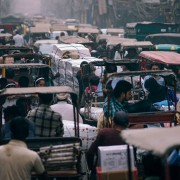 A busy street in India