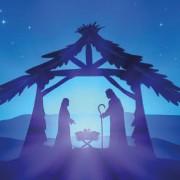 A blue nativity scene