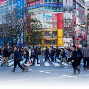 A busy road crossing in Tokyo