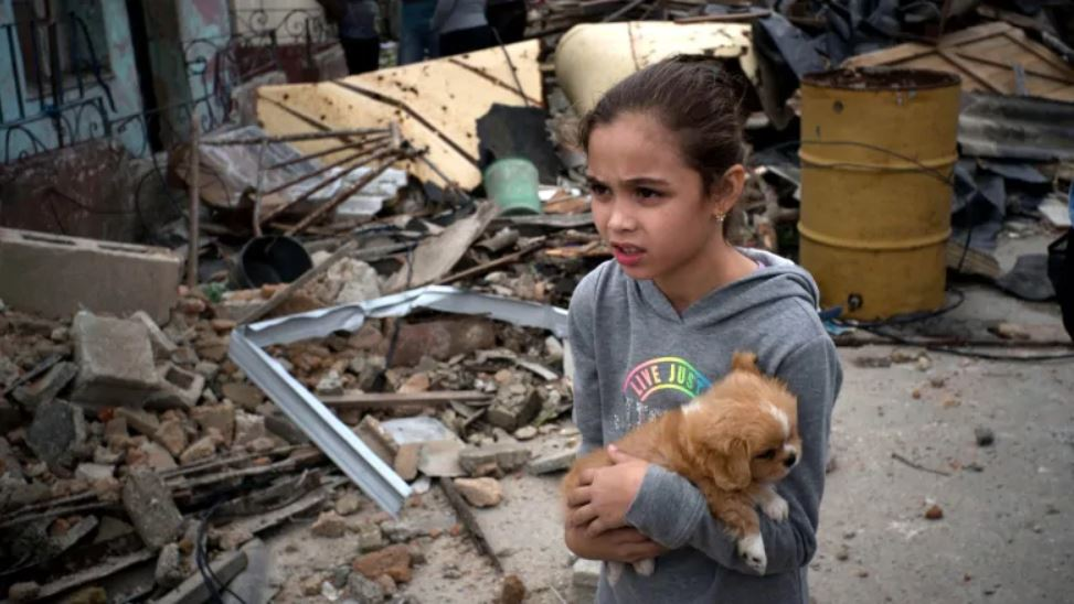 A young girl and her dog in the middle of the wreckage